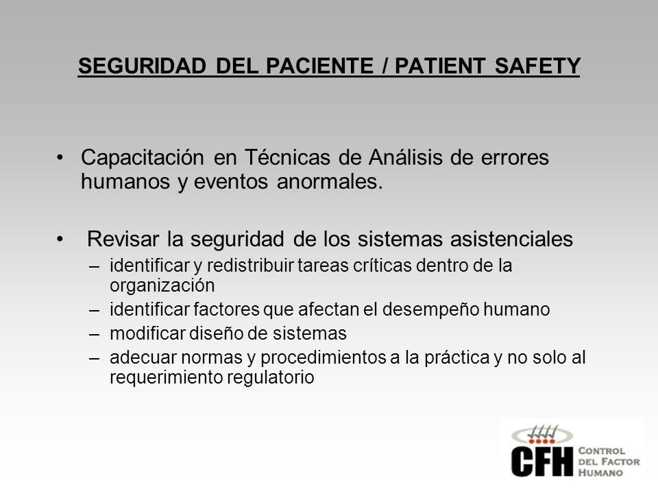 SEGURIDAD DEL PACIENTE / PATIENT SAFETY Capacitación en Técnicas de Análisis de errores humanos y eventos anormales.