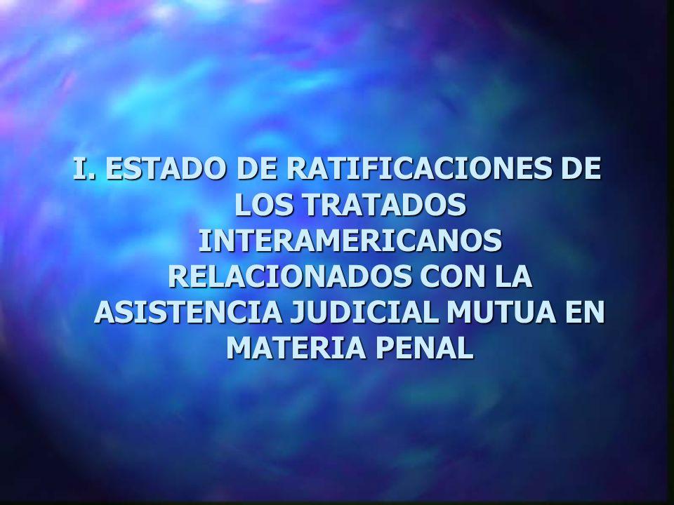 I. ESTADO DE RATIFICACIONES DE LOS TRATADOS INTERAMERICANOS RELACIONADOS CON LA ASISTENCIA JUDICIAL MUTUA EN MATERIA PENAL