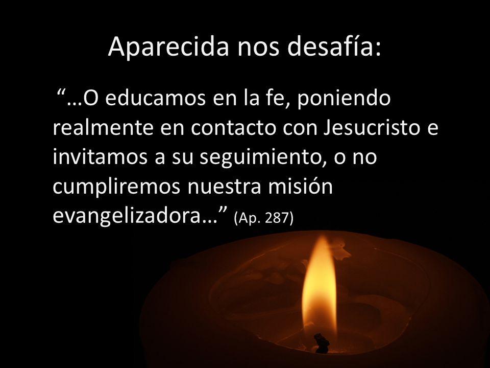 Aparecida nos desafía: …O educamos en la fe, poniendo realmente en contacto con Jesucristo e invitamos a su seguimiento, o no cumpliremos nuestra misi