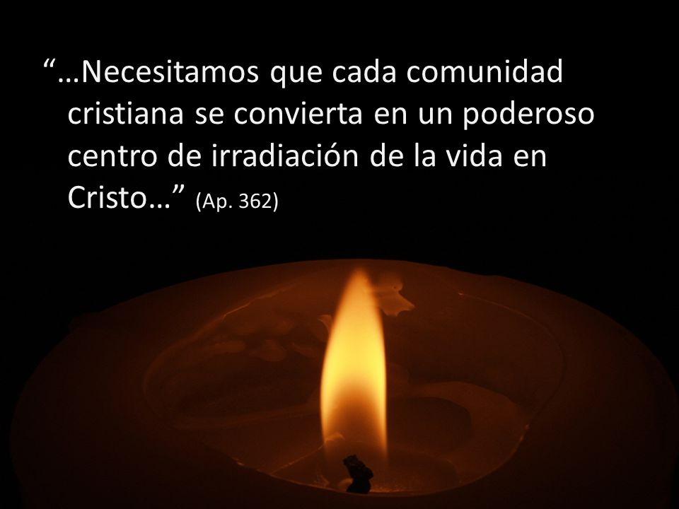 …Necesitamos que cada comunidad cristiana se convierta en un poderoso centro de irradiación de la vida en Cristo… (Ap. 362)