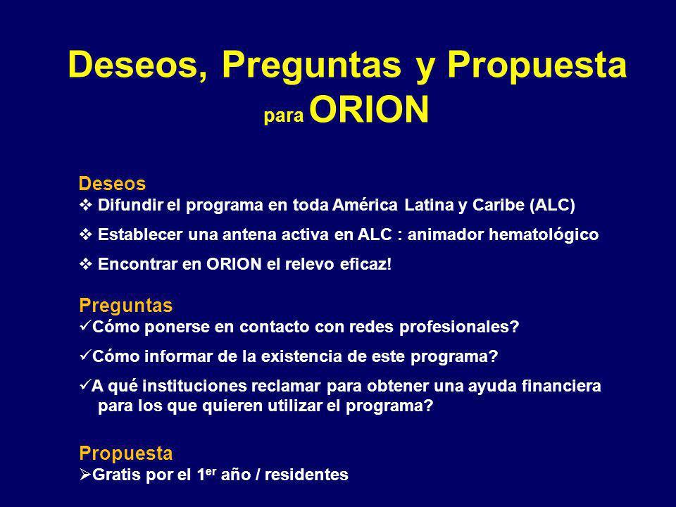 Deseos, Preguntas y Propuesta para ORION Deseos Difundir el programa en toda América Latina y Caribe (ALC) Establecer una antena activa en ALC : animador hematológico Encontrar en ORION el relevo eficaz.