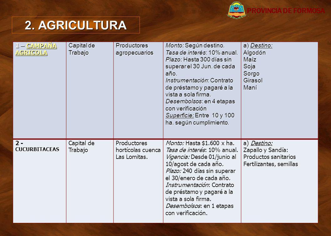 2. AGRICULTURA 1 – CAMPAÑA AGRICOLA CAMPAÑA AGRICOLACAMPAÑA AGRICOLA Capital de Trabajo Productores agropecuarios Monto: Según destino. Tasa de interé