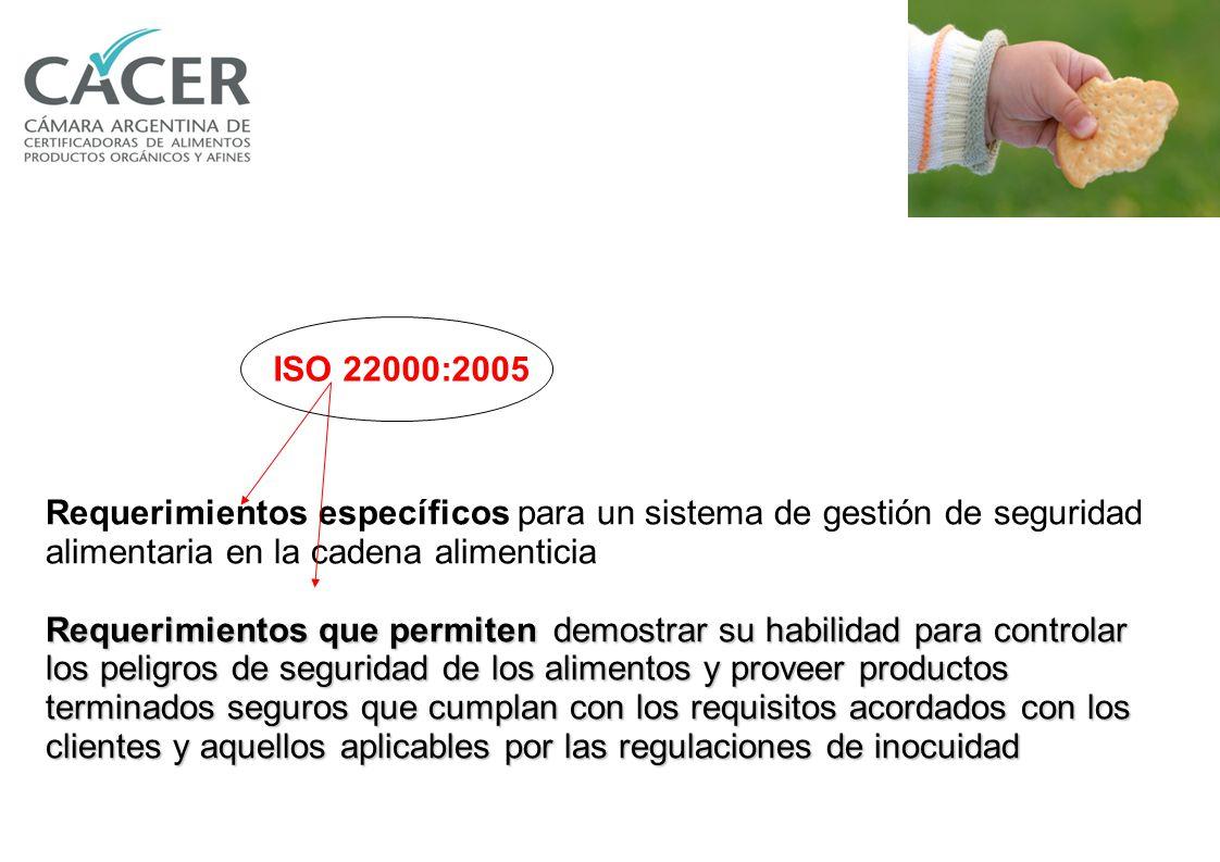 La norma ISO 22000 establece los requerimientos que debe cumplir un sistema de gestión de la seguridad alimentaría en la cadena de suministros de una