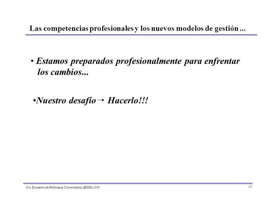 8vo.Encuentro de Bibliotecas Universitarias/ABGRA-2003 13 Las competencias profesionales y los nuevos modelos de gestión... Estamos preparados profesi
