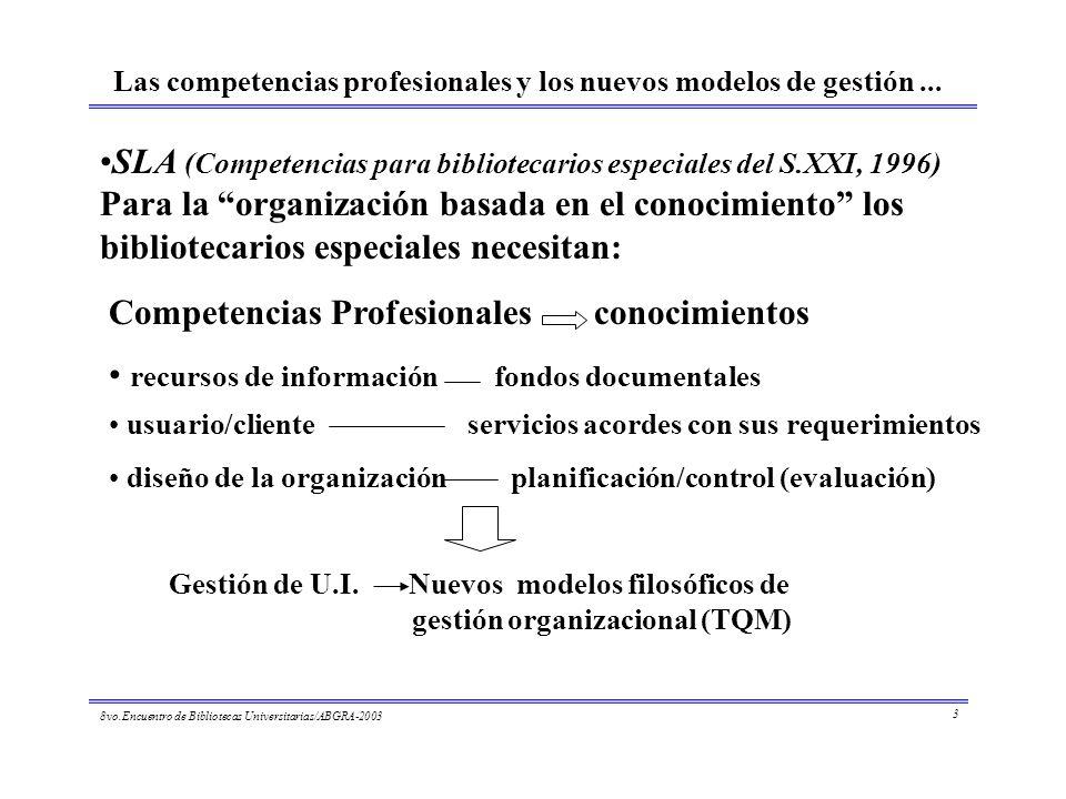 8vo.Encuentro de Bibliotecas Universitarias/ABGRA-2003 3 Las competencias profesionales y los nuevos modelos de gestión... SLA (Competencias para bibl