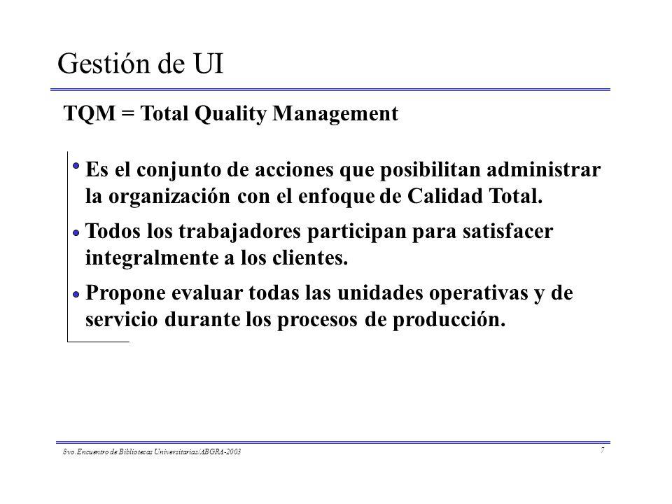Gestión de UI TQM = Total Quality Management Propone evaluar todas las unidades operativas y de servicio durante los procesos de producción. Es el con