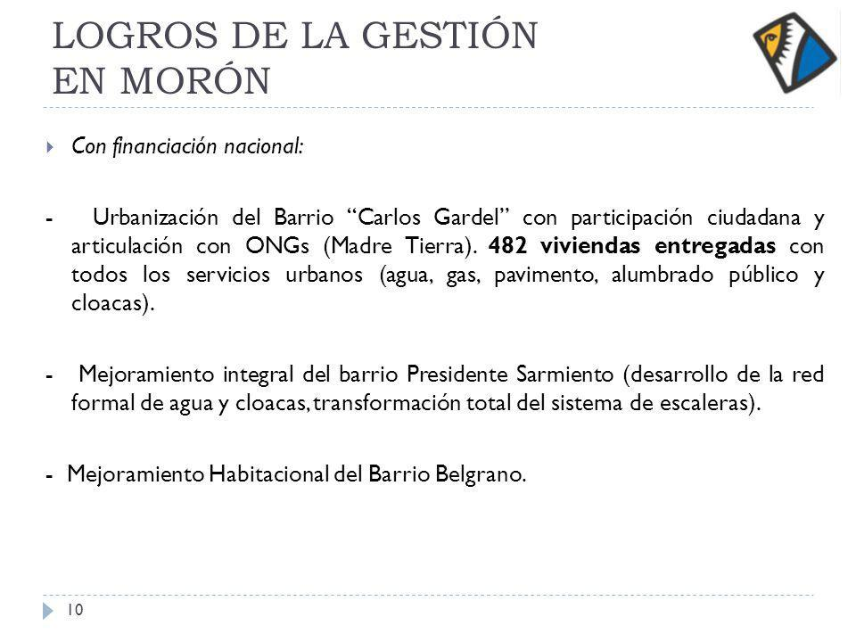 LOGROS DE LA GESTIÓN EN MORÓN Con financiación nacional: - Urbanización del Barrio Carlos Gardel con participación ciudadana y articulación con ONGs (Madre Tierra).