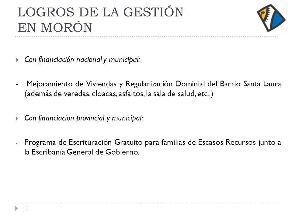 LOGROS DE LA GESTIÓN EN MORÓN Con financiación nacional y municipal: - Mejoramiento de Viviendas y Regularización Dominial del Barrio Santa Laura (ade