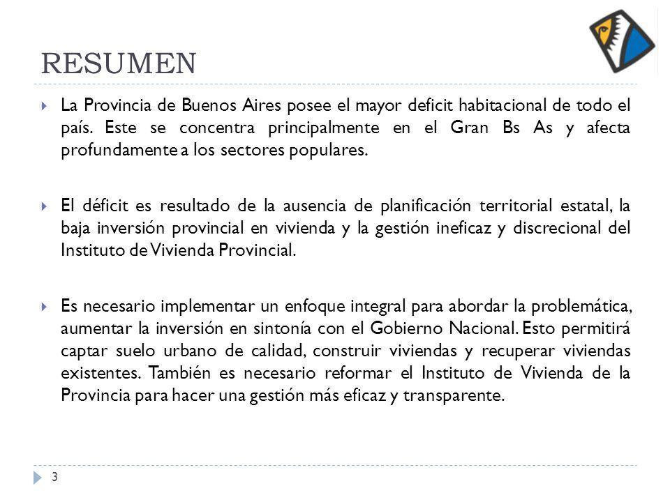 RESUMEN La Provincia de Buenos Aires posee el mayor deficit habitacional de todo el país.