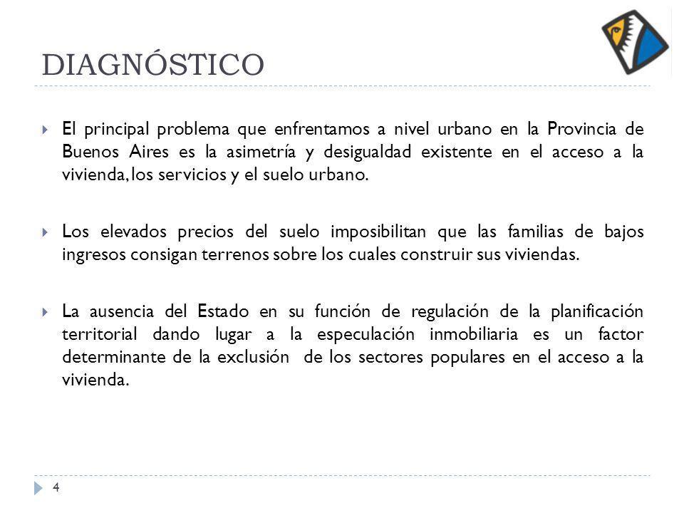 DIAGNÓSTICO El principal problema que enfrentamos a nivel urbano en la Provincia de Buenos Aires es la asimetría y desigualdad existente en el acceso a la vivienda, los servicios y el suelo urbano.