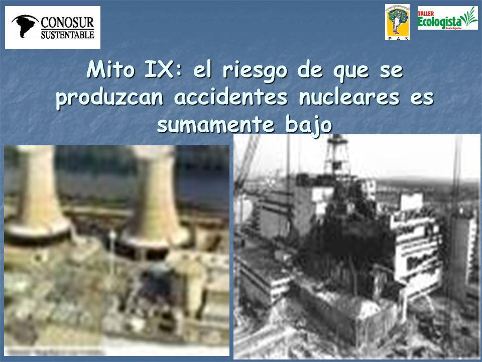Mito IX: el riesgo de que se produzcan accidentes nucleares es sumamente bajo
