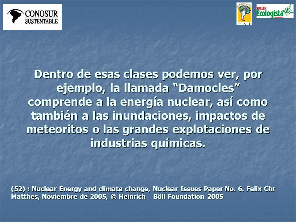 Dentro de esas clases podemos ver, por ejemplo, la llamada Damocles comprende a la energía nuclear, así como también a las inundaciones, impactos de meteoritos o las grandes explotaciones de industrias químicas.
