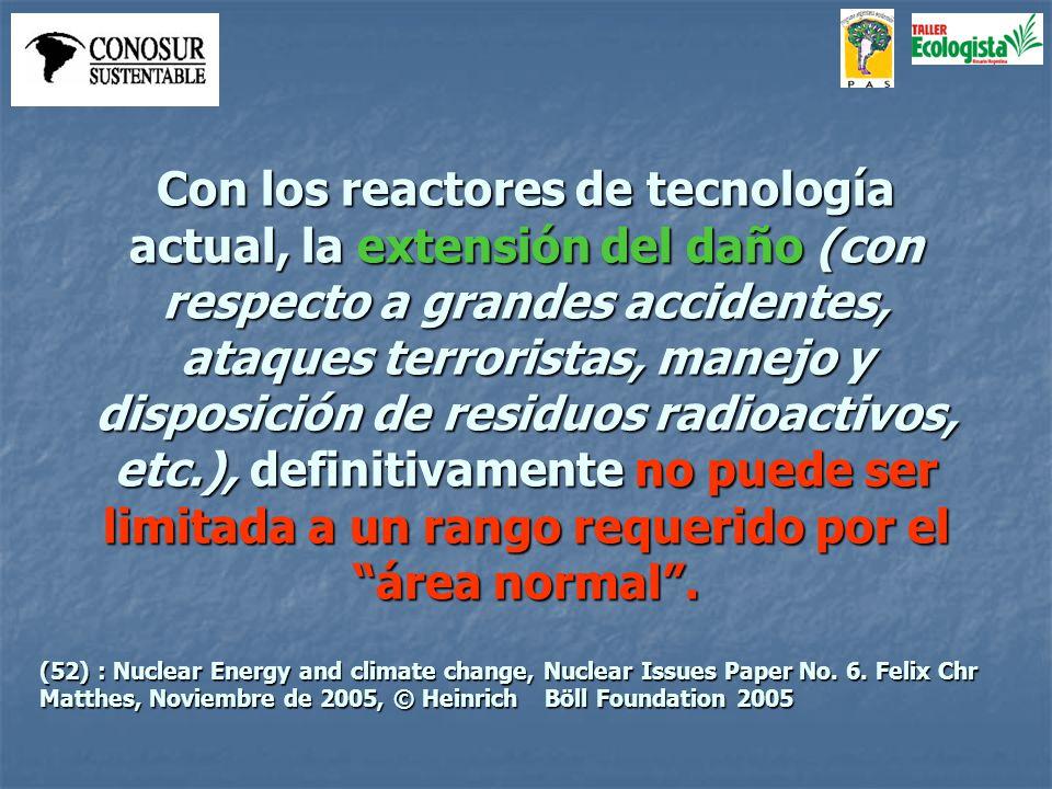 Con los reactores de tecnología actual, la extensión del daño (con respecto a grandes accidentes, ataques terroristas, manejo y disposición de residuo