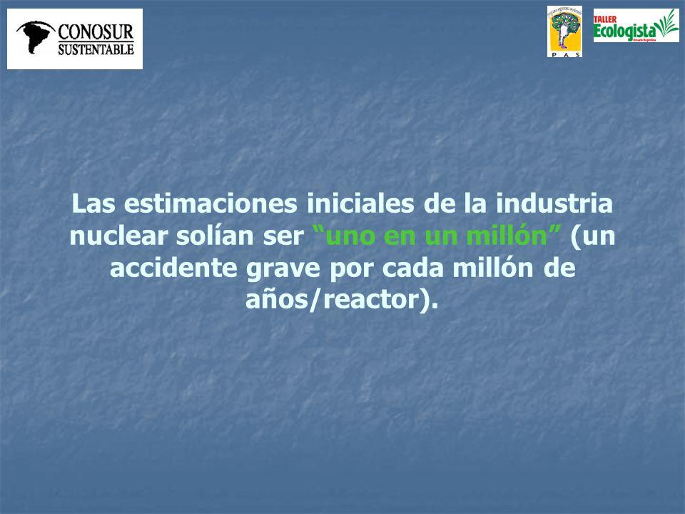 Las estimaciones iniciales de la industria nuclear solían ser uno en un millón (un accidente grave por cada millón de años/reactor).