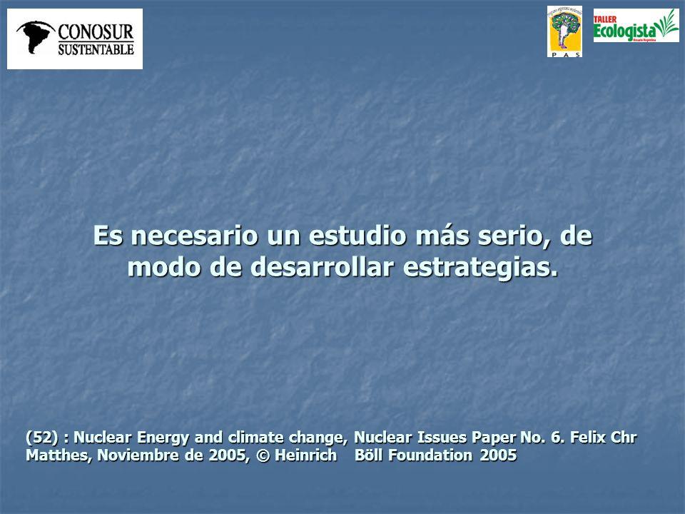 Es necesario un estudio más serio, de modo de desarrollar estrategias. (52) : Nuclear Energy and climate change, Nuclear Issues Paper No. 6. Felix Chr