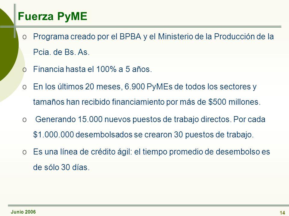 Junio 2006 14 Fuerza PyME oPrograma creado por el BPBA y el Ministerio de la Producción de la Pcia.