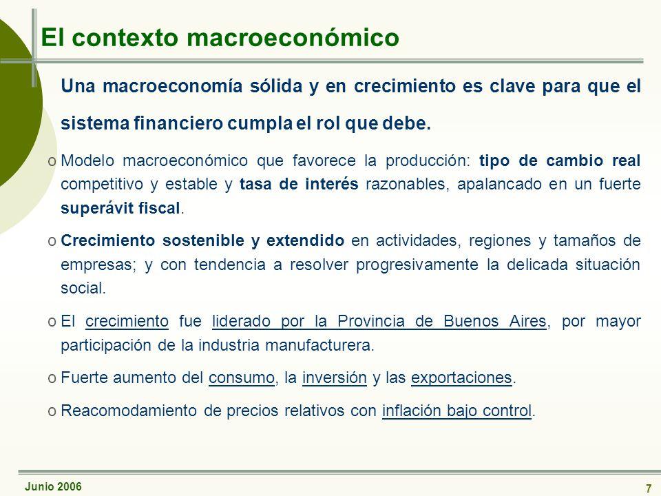Junio 2006 7 El contexto macroeconómico Una macroeconomía sólida y en crecimiento es clave para que el sistema financiero cumpla el rol que debe.