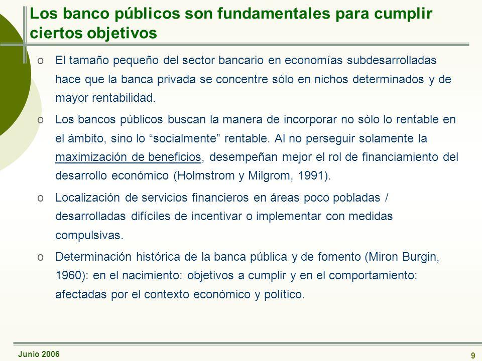 Junio 2006 9 Los banco públicos son fundamentales para cumplir ciertos objetivos oEl tamaño pequeño del sector bancario en economías subdesarrolladas hace que la banca privada se concentre sólo en nichos determinados y de mayor rentabilidad.