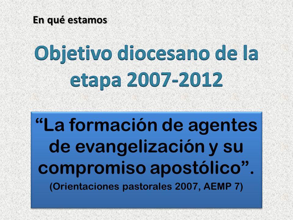 Centrar nuestro esfuerzo en fortalecer la conciencia de ser discípulos y en desarrollar la capacidad apostólica de nuestra vocación bautismal (AEMP 4).