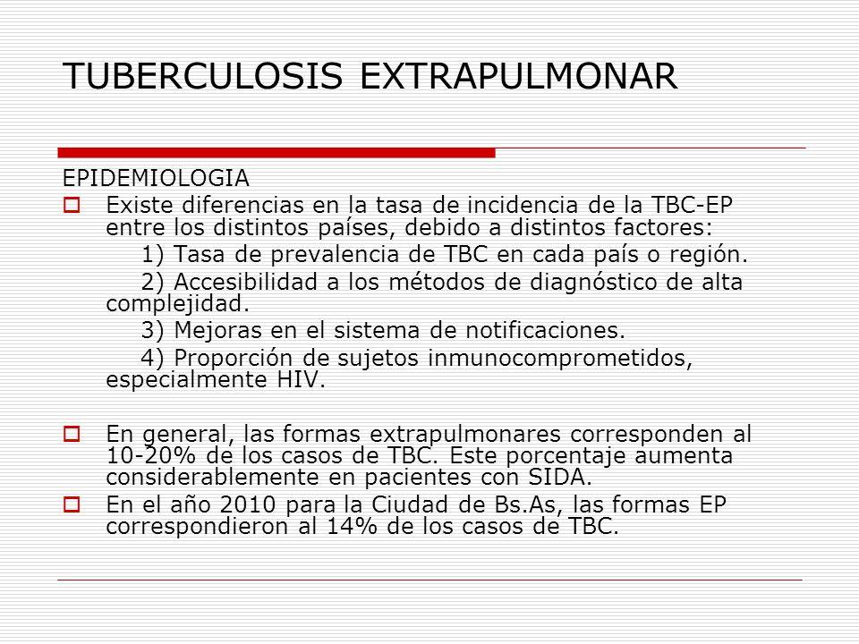 TUBERCULOSIS EXTRAPULMONAR DIAGNÓSTICO En general es tardío debido a las manifestaciones inespecíficas de la enfermedad Cuadro Clínico: Dependerá de la localización.