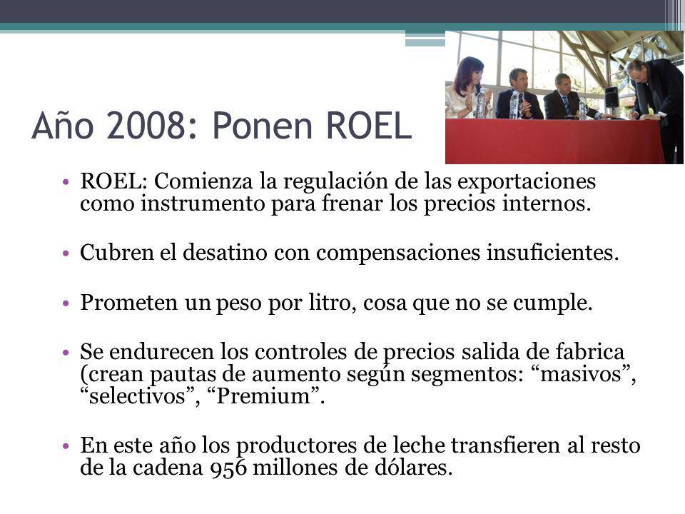 Año 2008: Ponen ROEL ROEL: Comienza la regulación de las exportaciones como instrumento para frenar los precios internos. Cubren el desatino con compe