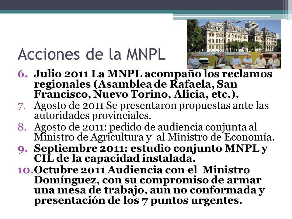 Acciones de la MNPL 6.Julio 2011 La MNPL acompaño los reclamos regionales (Asamblea de Rafaela, San Francisco, Nuevo Torino, Alicia, etc.). 7.Agosto d