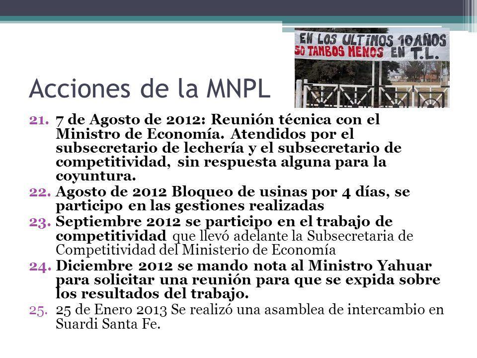 Acciones de la MNPL 21.7 de Agosto de 2012: Reunión técnica con el Ministro de Economía. Atendidos por el subsecretario de lechería y el subsecretario