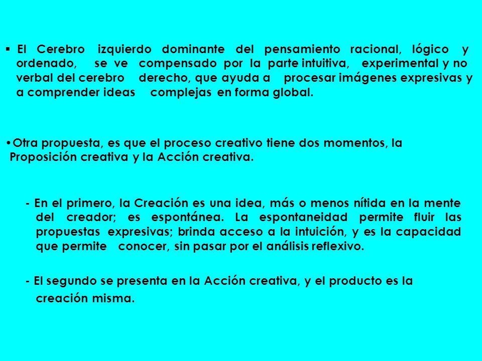 - En el primero, la Creación es una idea, más o menos nítida en la mente del creador; es espontánea. La espontaneidad permite fluir las propuestas exp