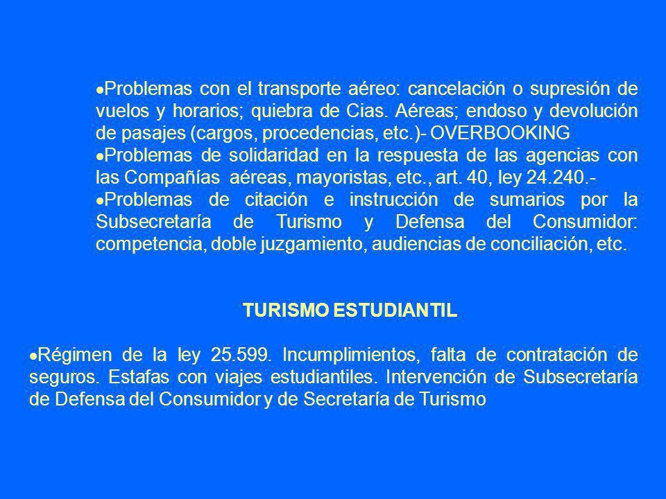 Problemas con el transporte aéreo: cancelación o supresión de vuelos y horarios; quiebra de Cias.
