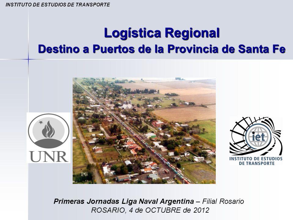 Logística Regional Destino a Puertos de la Provincia de Santa Fe INSTITUTO DE ESTUDIOS DE TRANSPORTE Primeras Jornadas Liga Naval Argentina – Filial R