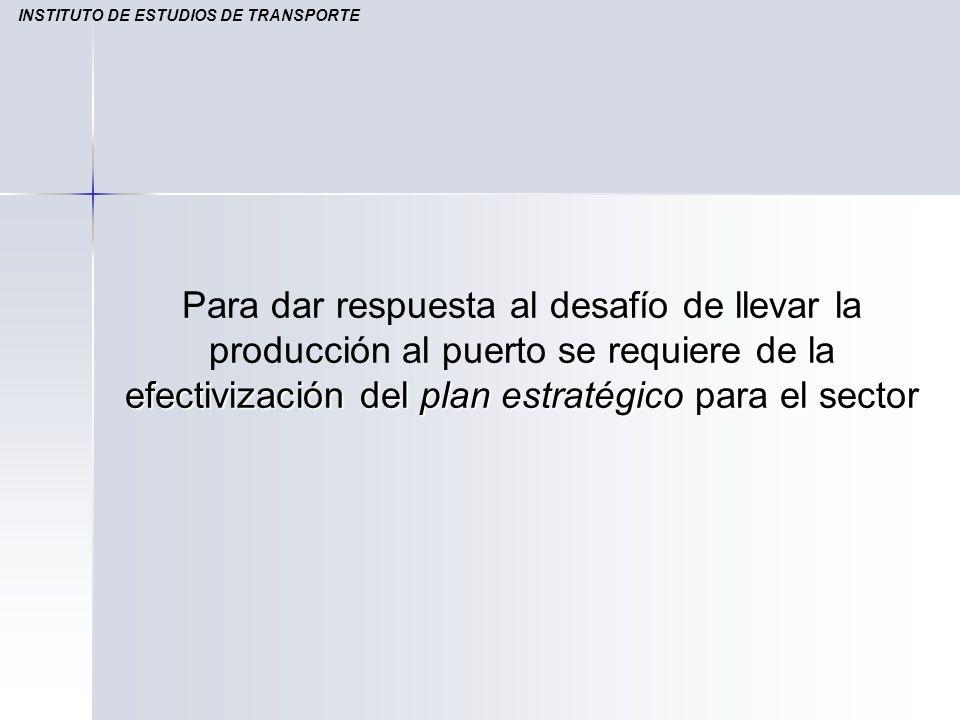 se requiere de la efectivización del plan estratégico para el sector Para dar respuesta al desafío de llevar la producción al puerto se requiere de la