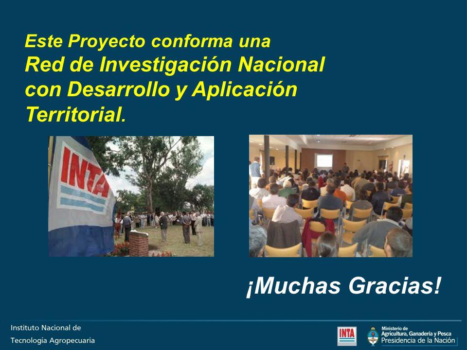 Este Proyecto conforma una Red de Investigación Nacional con Desarrollo y Aplicación Territorial. ¡Muchas Gracias!