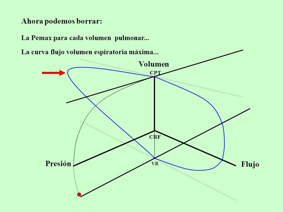 Ahora podemos borrar: Volumen CPT VR CRF Flujo Presión La curva flujo volumen espiratoria máxima...