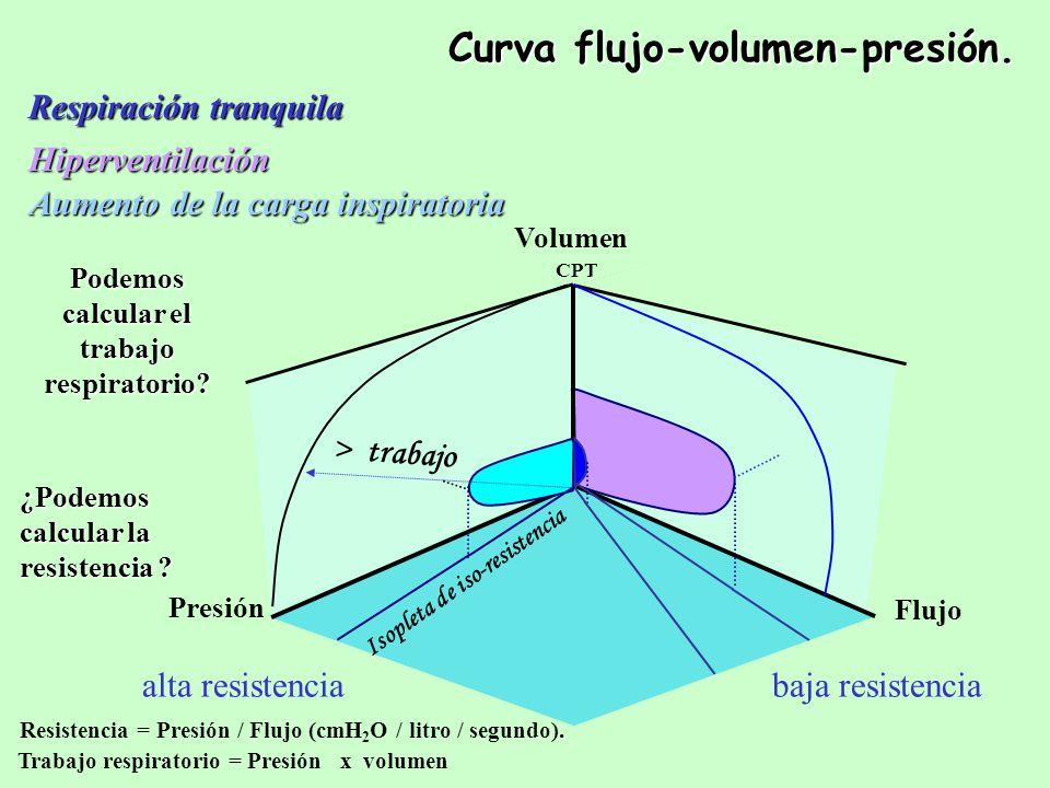 CPT Respiración tranquila Curva flujo-volumen-presión.