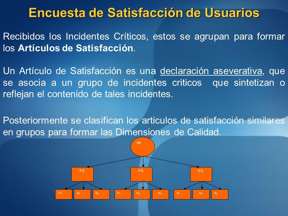 El último paso es la elaboración de la encuesta agrupada por Dimensión de Calidad y Artículo de Satisfacción.