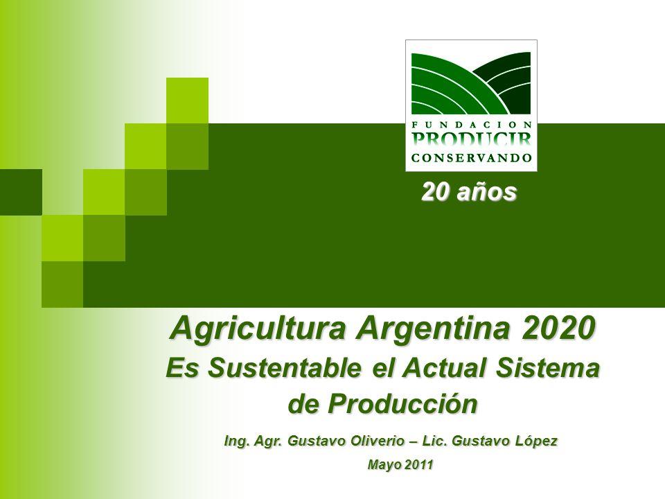 Agricultura Argentina 2020 Es Sustentable el Actual Sistema de Producción Ing. Agr. Gustavo Oliverio – Lic. Gustavo López Mayo 2011 20 años