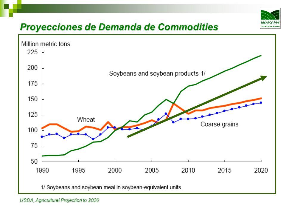 Proyecciones de Demanda de Commodities USDA, Agricultural Projection to 2020