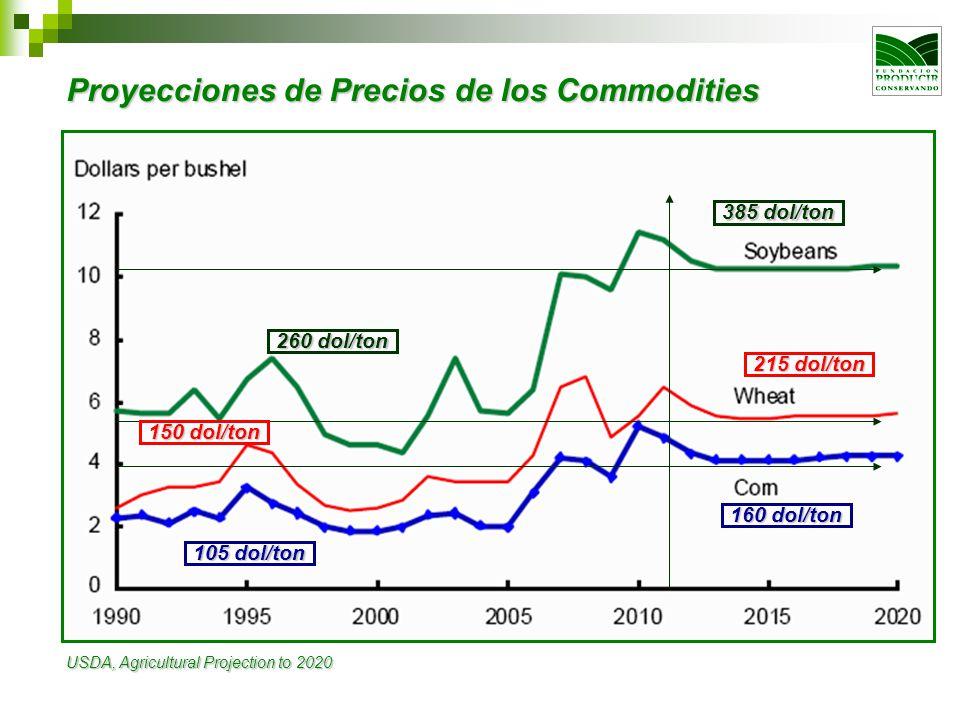 Proyecciones de Precios de los Commodities USDA, Agricultural Projection to 2020 385 dol/ton 260 dol/ton 215 dol/ton 150 dol/ton 160 dol/ton 105 dol/t