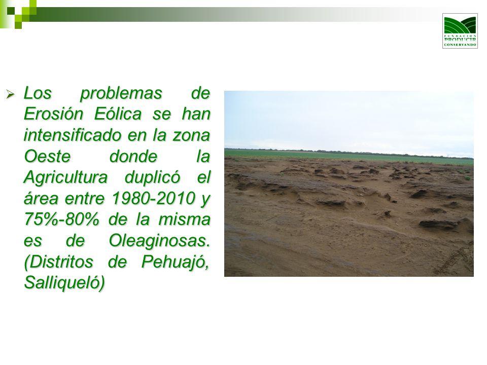 Los problemas de Erosión Eólica se han intensificado en la zona Oeste donde la Agricultura duplicó el área entre 1980-2010 y 75%-80% de la misma es de
