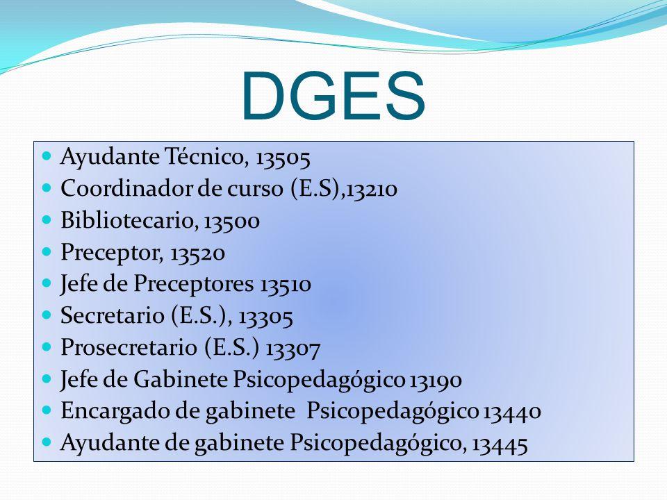 DGES Ayudante Técnico, 13505 Coordinador de curso (E.S),13210 Bibliotecario, 13500 Preceptor, 13520 Jefe de Preceptores 13510 Secretario (E.S.), 13305