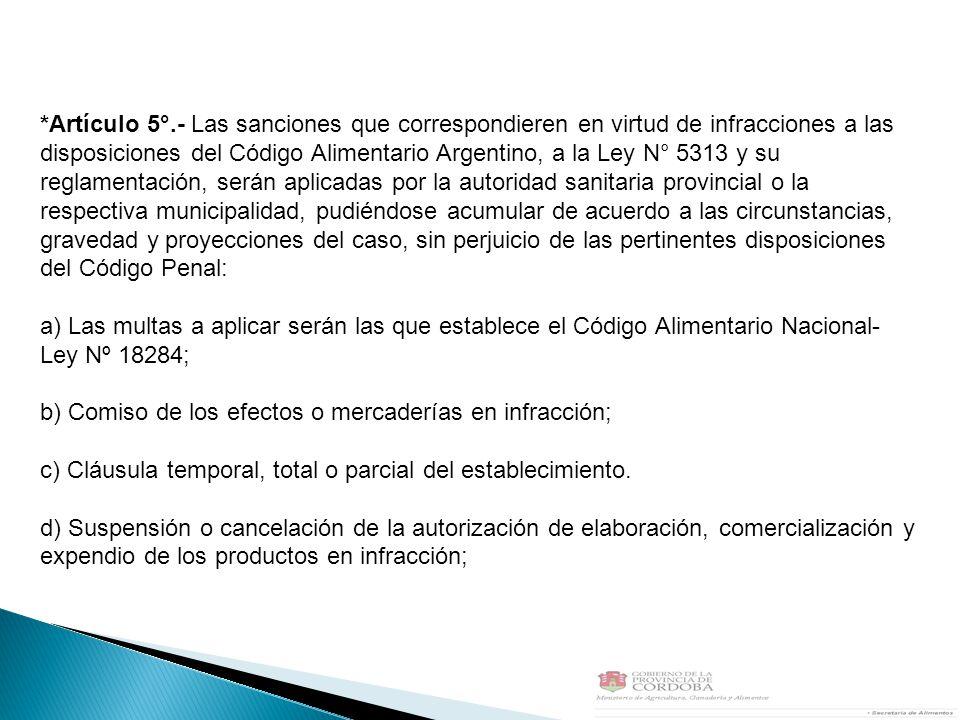 *Artículo 5°.- Las sanciones que correspondieren en virtud de infracciones a las disposiciones del Código Alimentario Argentino, a la Ley N° 5313 y su
