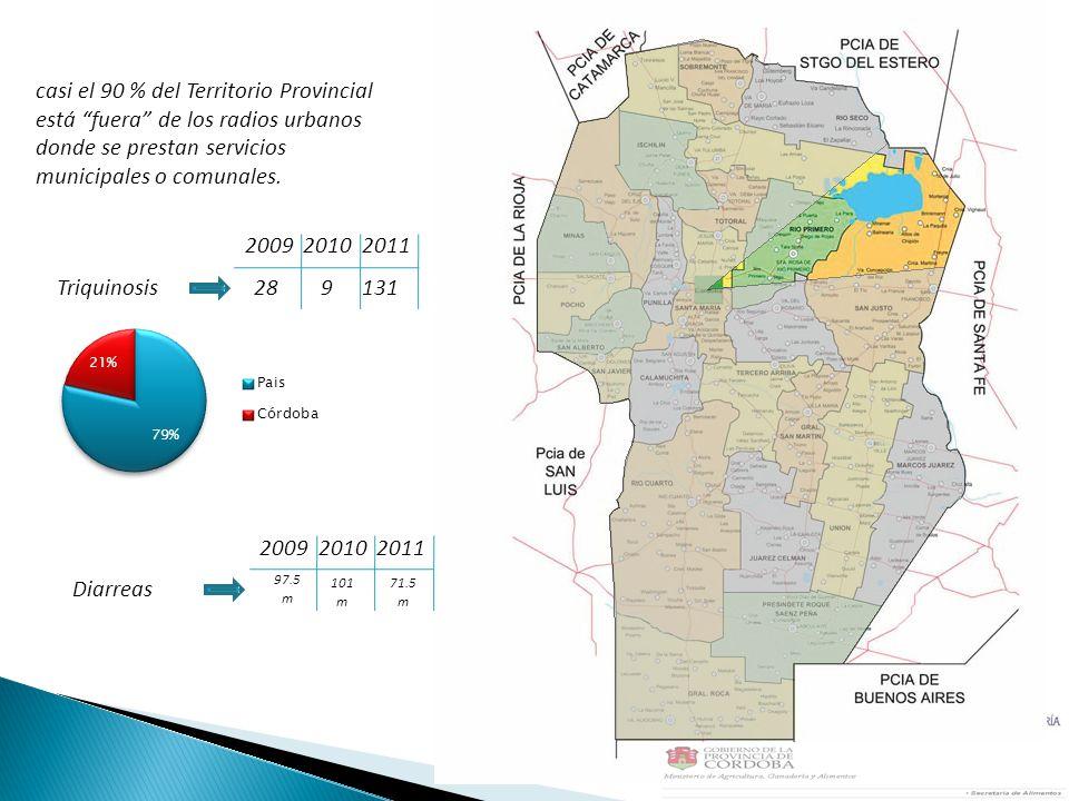 casi el 90 % del Territorio Provincial está fuera de los radios urbanos donde se prestan servicios municipales o comunales. Triquinosis289131 20092010