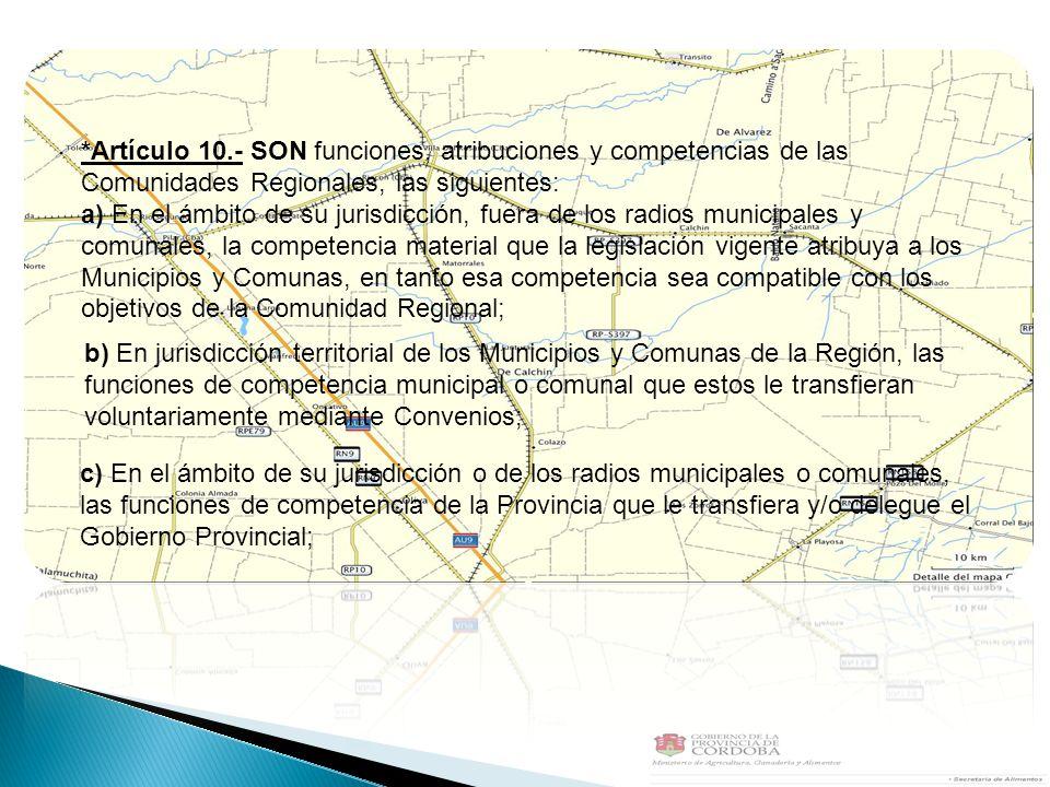 *Artículo 10.- SON funciones, atribuciones y competencias de las Comunidades Regionales, las siguientes: a) En el ámbito de su jurisdicción, fuera de