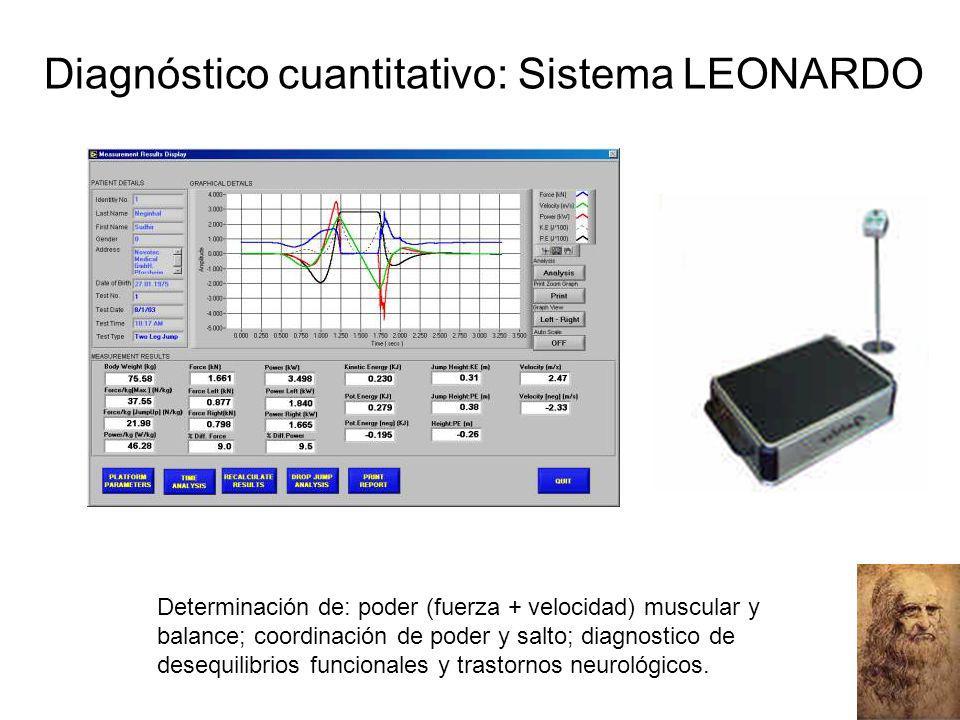 Diagnóstico cuantitativo: Sistema LEONARDO Determinación de: poder (fuerza + velocidad) muscular y balance; coordinación de poder y salto; diagnostico