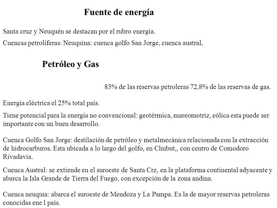 Fuente de energía Santa cruz y Neuquén se destacan por el rubro energía. Energía eléctrica el 25% total país. Tiene potencial para la energía no conve