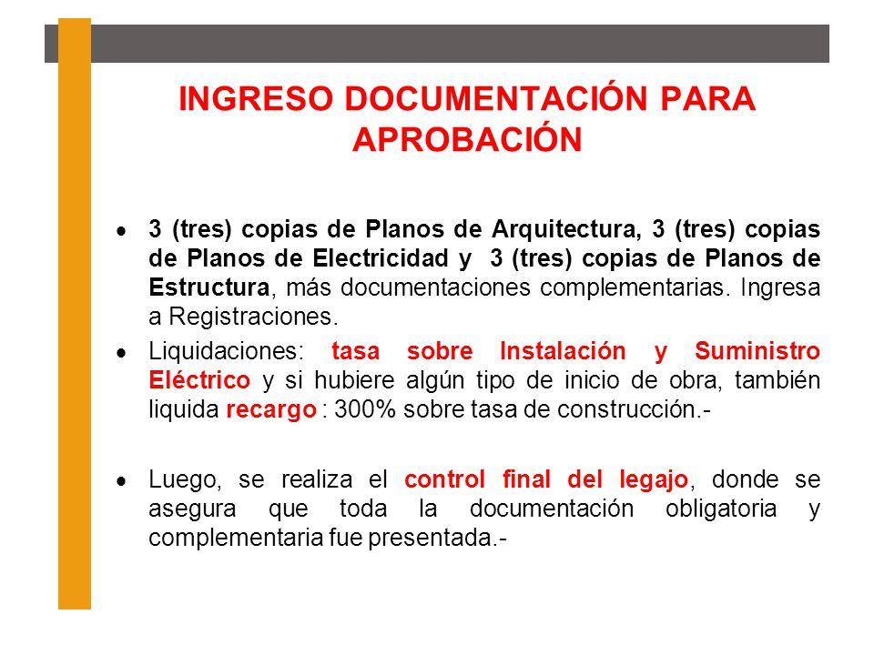 INGRESO DOCUMENTACIÓN PARA APROBACIÓN 3 (tres) copias de Planos de Arquitectura, 3 (tres) copias de Planos de Electricidad y 3 (tres) copias de Planos