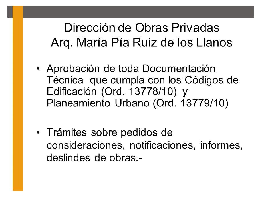 Dirección de Obras Privadas Arq. María Pía Ruiz de los Llanos Aprobación de toda Documentación Técnica que cumpla con los Códigos de Edificación (Ord.