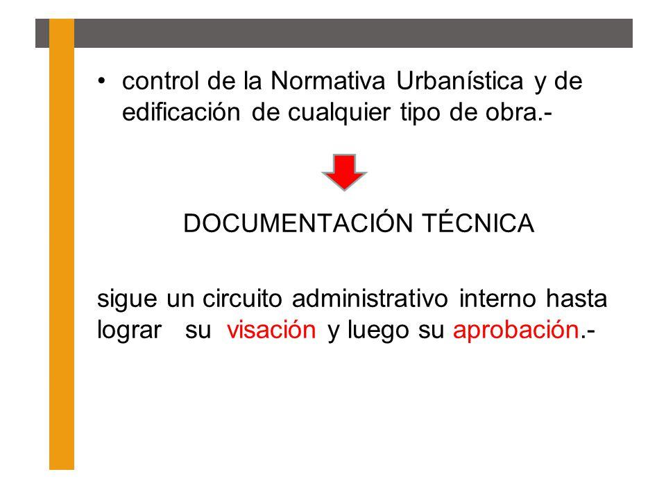 control de la Normativa Urbanística y de edificación de cualquier tipo de obra.- DOCUMENTACIÓN TÉCNICA sigue un circuito administrativo interno hasta
