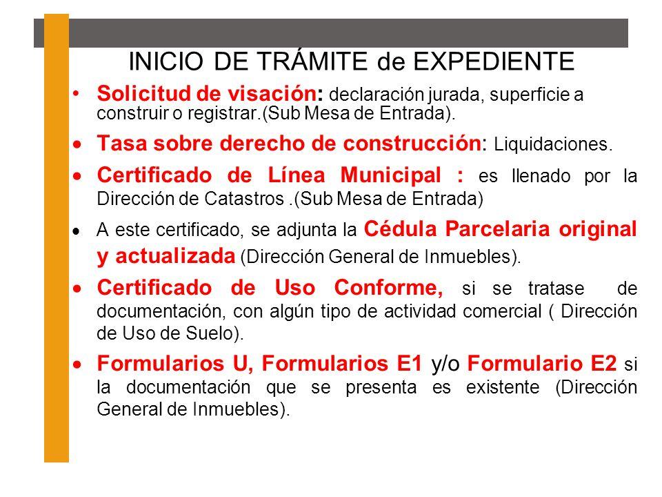 INICIO DE TRÁMITE de EXPEDIENTE Solicitud de visación: declaración jurada, superficie a construir o registrar.(Sub Mesa de Entrada). Tasa sobre derech
