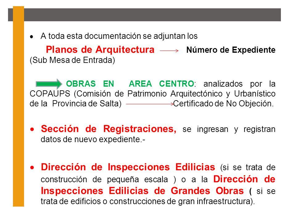 A toda esta documentación se adjuntan los Planos de Arquitectura Número de Expediente (Sub Mesa de Entrada) OBRAS EN AREA CENTRO: analizados por la CO